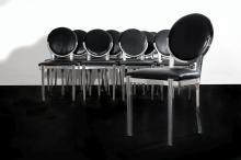 Jacques-Emile RUHLMANN (1879 - 1933) Unique suite de douze chaises - Circa 1930 Piètement et structure en fonte d''aluminium poli, as..