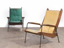 Jean PROUVE (1901 -1984) Paire de fauteuils dits « Visiteur à lattes » - 1948 Structure en tube d''acier laqué vert, variante avec pi..