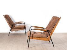Jean PROUVE (1901 -1984) Rare paire de fauteuils visiteurs dits