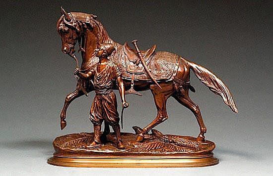EDOUARD DELABRIERE 1829-1912 LE CHEVAL DU SULTAN Bronze à patine brune