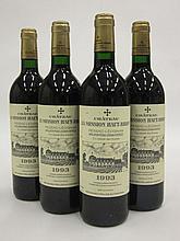 4 bouteilles CHÂTEAU LA MISSION HAUT BRION 1993 CC Pessac Léognan