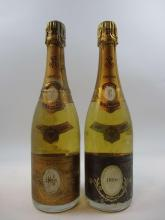 5 bouteilles CHAMPAGNE CRISTAL ROEDERER 1996 (étiquettes très abimées
