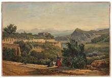 André Giroux Paris, 1801 - 1879 Dessinateur devant un paysage à Ischia Huile sur toile