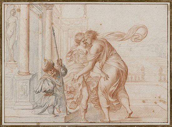 Pierre BREBIETTE Mantes, 1598 - 1650 Deux vertus se donnant l'accolade devant un soldat nain Crayon noir et sanguine