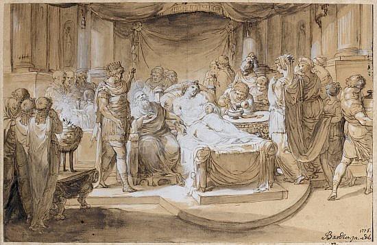 Jean BARDIN Montbard, 1732 - Orléans, 1809 Alexandre le Grand et le médecin Philippe d'Arcanie et La Maladie d'Antiochus Plume et en.
