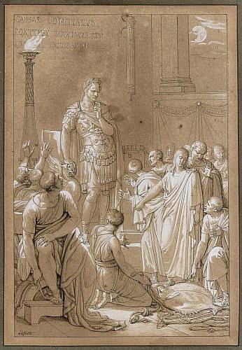 Louis LAFITTE Paris, 1770 - 1828 Scène d'histoire ancienne Plume et encre noire, lavis brun et rehauts de gouache blanche sur traits..