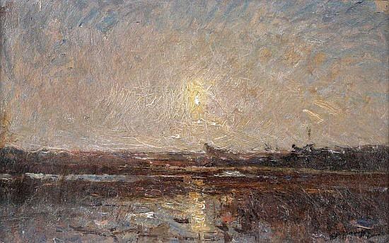 Auguste-François RAVIER Lyon, 1814 - Morestel, 1895 Coucher de soleil Huile sur papier marouflé sur carton