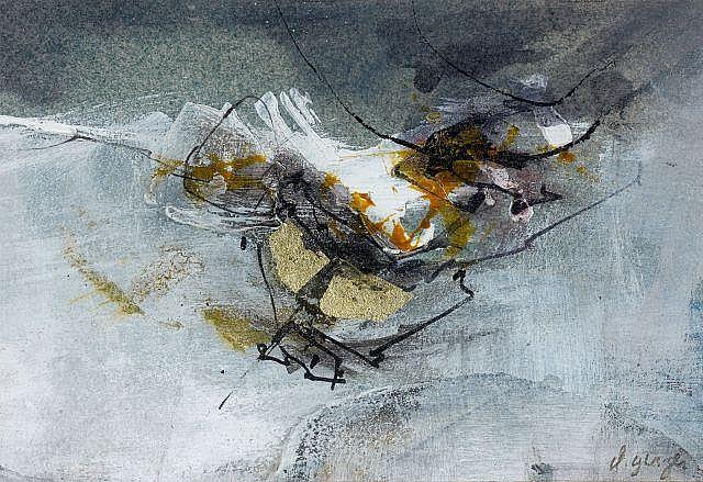 Claude GEORGES (1929 - 1988) COMPOSITION Technique mixte et peinture à l'or fin sur papier