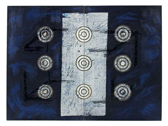 Luciano BARTOLINI (1948-1994) SANS TITRE (Dyptique), 1987 Technique mixte et collage de papier Japon sur papier marouflé sur toile