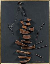 ARMAN (1928-2005) UN COUP A DROITE, UN COUP A GAUCHE - 1962 Violon et archet découpés collés sur panneau