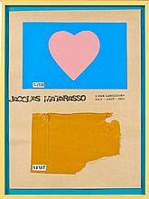 Claude GILLI (né en 1938) EXPOSITION GILLI ET VENET CHEZ JACQUES MATARASSO - 1964 Papier et carton peints découpés sur affiche carto...