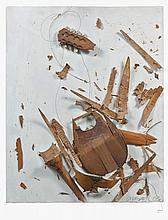 ARMAN (1928-2005) COLERE DE MANDOLINE - 1963 Mandoline éclatée sur panneau peint