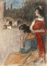 Ramon PICHOT GIRONES 1872 - 1925 Gitanes sur la plaza Aquarelle, pastel et fusain sur papier marouflé sur carton