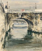 Isamu HIRAKAWA 1921 - 1989 Pont Notre-Dame - 1973 Huile sur toile