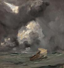 Jules BASTIEN-LEPAGE Damvillers,1848 - Paris,1884 Voilier par gros temps Huile sur toile