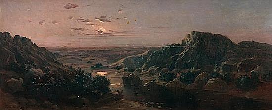 Eugène DESHAYES 1828 - 1890 AURORE DANS L'OUED Huile sur toile
