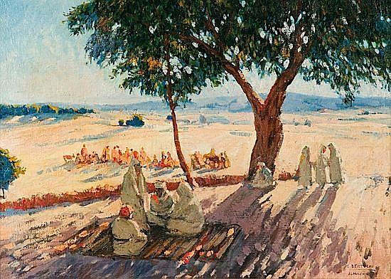 Mariano BERTUCHI (1885 - 1965) LE REPOS A L'OMBRE DES ARBRES Huile sur toile