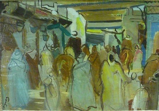 Alfred FIGUERAS (1900 - 1980) LE SOUK DE FES Huile sur panneau
