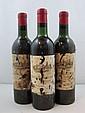 3 bouteilles CHÂTEAU AUSONE 1961 1er GCC (A) Saint Emilion  (1 légèrement bas, 2 haute épaule, étiquettes abîmées)