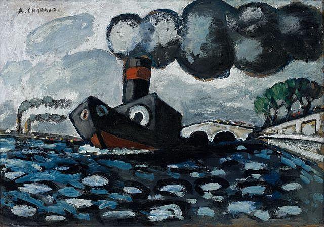 Auguste Elisée CHABAUD (Nîmes, 1882 - Paris, 1955) LE REMORQUEUR BLEU, circa 1907 - 1908 Huile sur carton