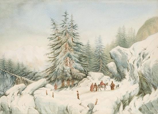 François Ferogio Marseille, 1805 - Paris, 1888 Voyageurs dans un paysage de montagnes enneigées Aquarelle sur papier