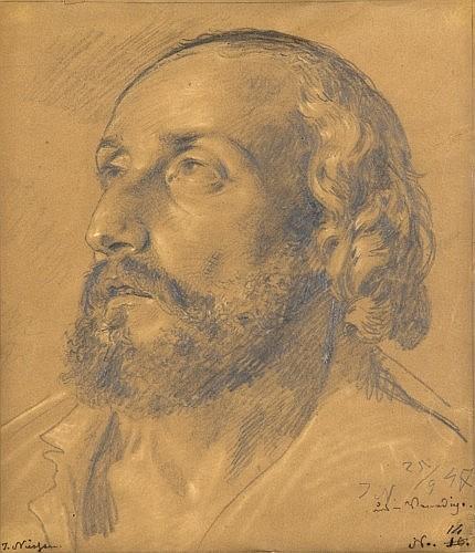 Johannes Niessen Cologne, 1821 - 1910 Etude de tête d'homme Crayon, traces de rehauts de craie blanche,