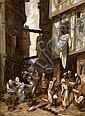 Louis-Adolphe Hervier Paris, 1818 - 1879 Rue animée à Rouen Huile sur panneau, Adolphe Hervier, Click for value
