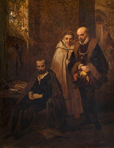 Louis Gallait Tournay, 1810 - Schaerbeck, 1887 Montaigne visitant le Tasse au monastère de Saint Just Toile