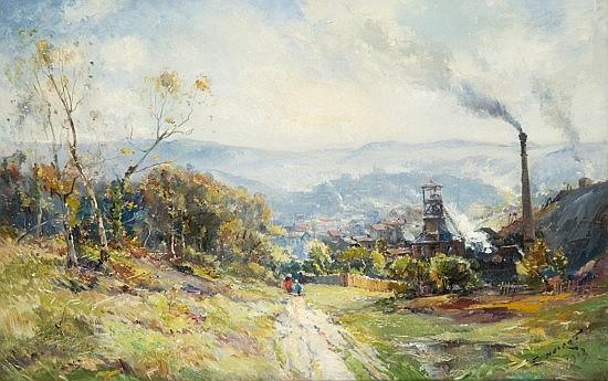 Emile Noirot Roanne, 1853 - (?), 1924 Puits de la Loire, Saint Etienne Huile sur toile