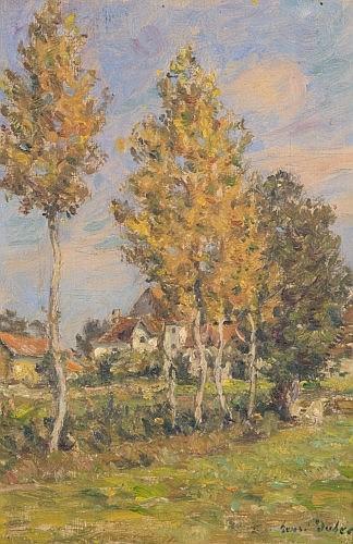 Henri-Aimé Duhem Douai, 1860 - Juan-les-Pins, 1941 Vue de Revery dans le Lot Huile sur panneau