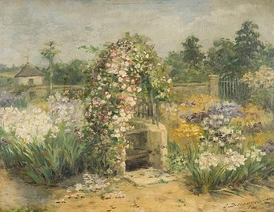 Louise-Cécile Descamps-Sabouret Née à Paris en 1855 Le Jardin Huile sur carton