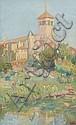 Edmond Marie Petitjean Neufchâteau, 1844 - Paris, 1925 Paysage à l'église Huile sur carton,