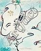 QUIK (Linwood A. Felton dit) (né en 1958 -) ROOMFUL OF MIRROPES Dessin au stylo bille, marqueur et feutres de couleur sur papier, Lin Felton, Click for value