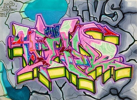 T-KID 170 (né en 1961) FULL MOON IN FX - SOLID AS A STONE, 1994 Deux dessins au marker et feutres de couleur sur papier dans le même...
