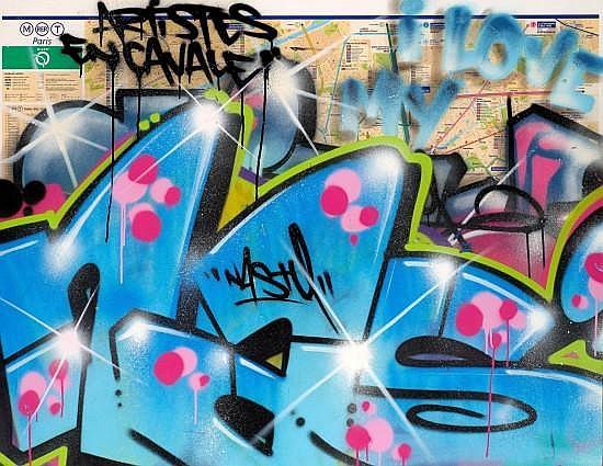 NASTY (né en 1974 -) SANS TITRE Peinture aérosol sur plan de métro contrecollé sur aluminium sur PVC