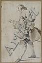 Noël Hallé Paris, 1711 - 1781 Gentilhomme marchant vers la gauche Crayon noir, lavis gris, lavis brun et lavis de sanguine, Noel Halle, Click for value