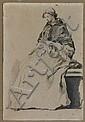 Noël Hallé Paris, 1711 - 1781 Femme assise cousant Crayon noir, lavis gris, lavis brun et lavis de sanguine, Noel Halle, Click for value