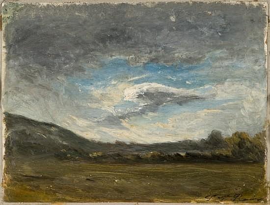 Auguste-François Ravier Lyon, 1814 - Morestel, 1895 Etude de ciel au dessus d'une plaine Huile sur carton