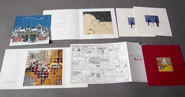 ENSEMBLE DE 6 CARTES DE VŒUX DE 1997/98 à 2003/04 - 1997/98: Carte en 2 volets, illustrée sur les 4 volets, les volets intérieurs...