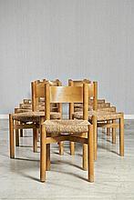 Charlotte PERRIAND (1903-1999) Suite de neuf chaises dites