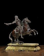 École française du XIXe siècle, d'après un modèle de François Girardon (1628-1715) Statue équestre de Louis XIV Groupe en bronze à p..