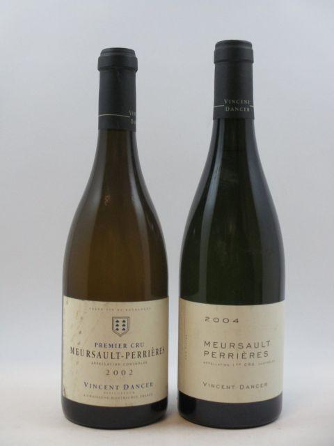 2 bouteilles 1 bt :  MEURSAULT 2002 1er cru Perrières. Vincent Dancer (étiquette léger abimée)