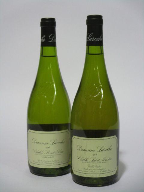 12 bouteilles 10 bts : CHABLIS 1995 1er cru Les Beauroys. Domaine Laroche