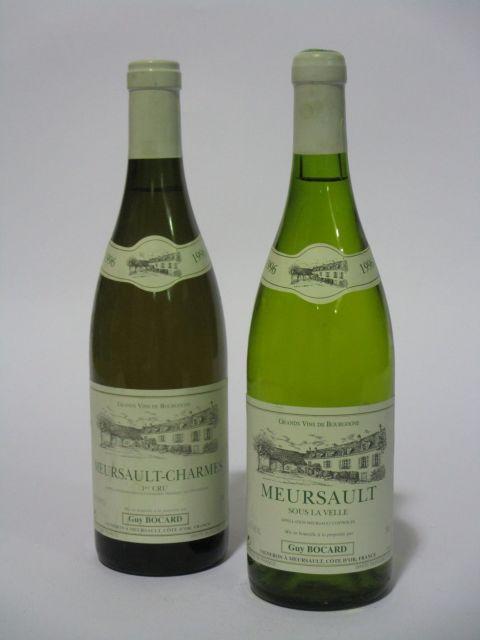 10 bouteilles 4 bts : MEURSAULT 1996 1er cru Charmes. Domaine Guy Bocard