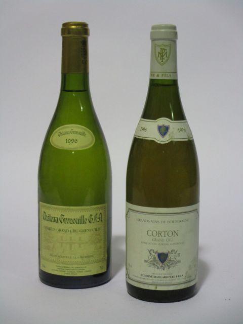 9 bouteilles 5 bts : CORTON 1996 Grand Cru. Domaine Mallard Père & Fils (étiquettes fanées)