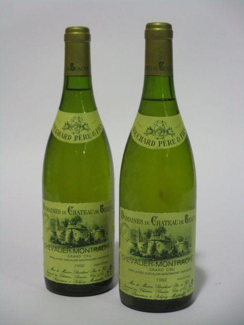 2 bouteilles CHEVALIER MONTRACHET 1992 Grand Cru