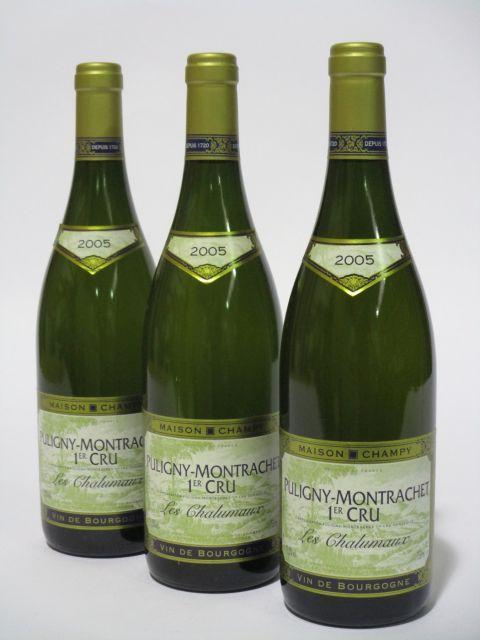 6 bouteilles PULIGNY MONTRACHET 2005 1er cru Les Chalumeaux