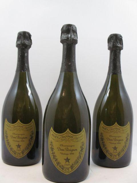 3 bouteilles CHAMPAGNE DOM PERIGNON 1996 (capsules usées)
