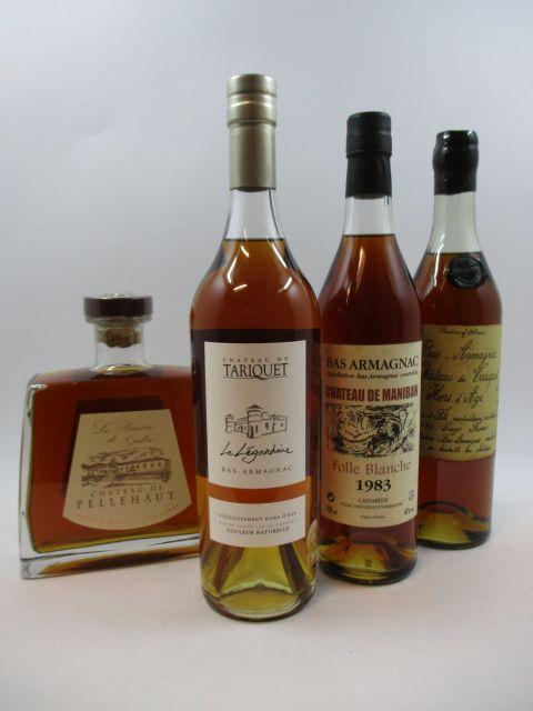 4 bouteilles 1 bt : ARMAGNAC CHÂTEAU DE PELLEHAUT La Réserve de Gaston. Ténarèze Single Estate (70 cl, 42°)