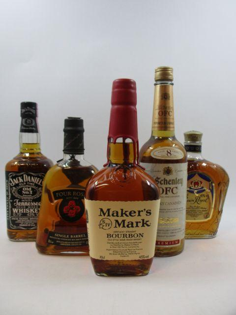 5 bouteilles 1 bt : BOURBON MAKER'S MARK Kentucky Staight Old Style Sour Mash Whisky (70 cl, 45°)